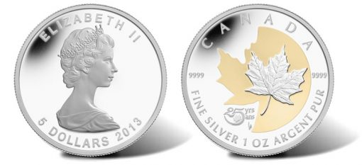 2013 $5 Proof 25th Anniversary Silver Maple Leaf Commemorative Coin