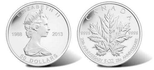 2013 $50 Reverse Proof 25th Anniversary Silver Maple Leaf Commemorative Coin