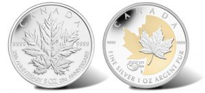 2013 Silver Maple Leaf Commemorative Coins for 25th Anniversary
