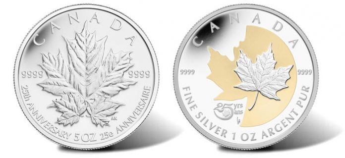 2013 $50 and $5 25th Anniversary Silver Maple Leaf Commemorative Coins