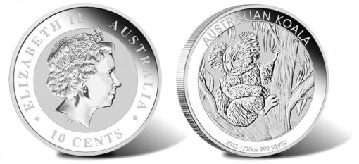 2013 Australian Koala One-Tenth Ounce Silver Coin