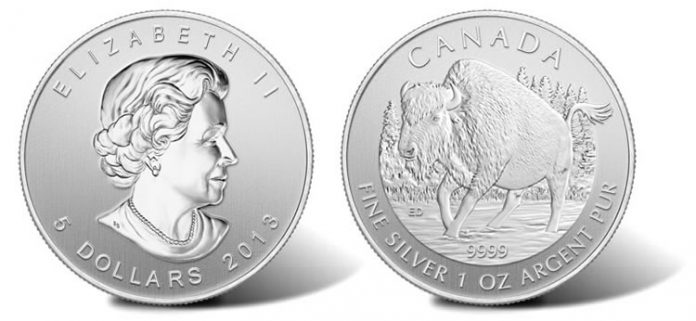 2013 Canadian Wood Bison Silver Bullion Coin