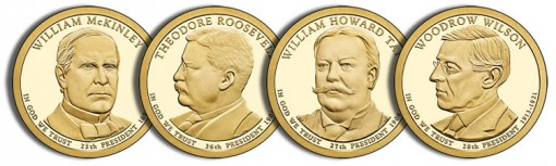 2013 Proof Presidential Dollars - McKinley, Roosevelt, Taft and Wilson