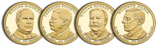 2013 Proof Presidential Dollars - McKinley, Roosevelt, Taft and Wilson