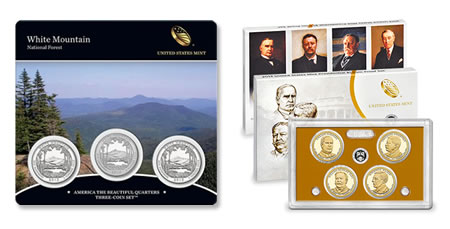 2013 White Mountain Quarters Three-Coin Set and 2013 Presidential Dollar Proof Set
