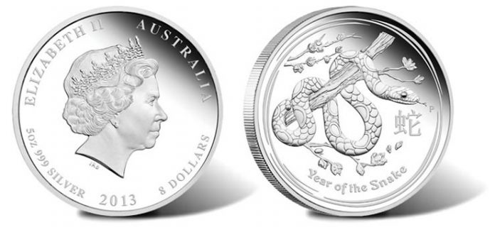 2013 Year of the Snake 5 Oz Silver Proof Coin