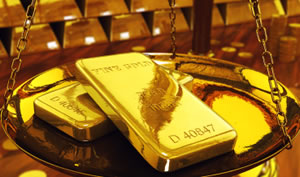 Gold Bullion on Scale