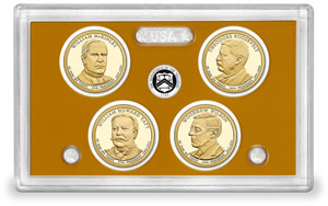Lens and Coins in 2013 Presidential $1 Coin Proof Set