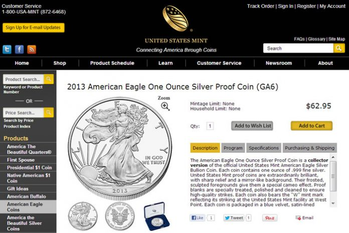 New US Mint 2013 Product Page