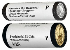 Rolls of White Mountain Quarters and McKinley Presidential $1 Coins