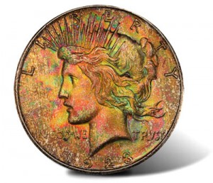 1923S multicolored Peace Dollar