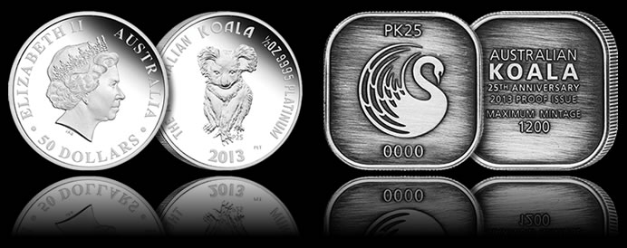 25th Anniversary Platinum Koala Coin and Silver Medallion Set
