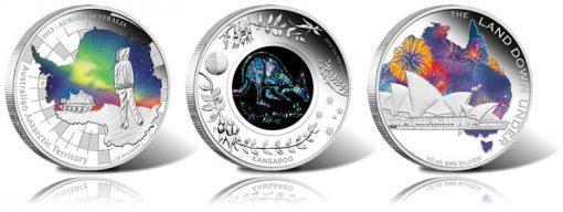 Aurora Australis, Opal Kangaroo and Sydney Opera House Silver Coins