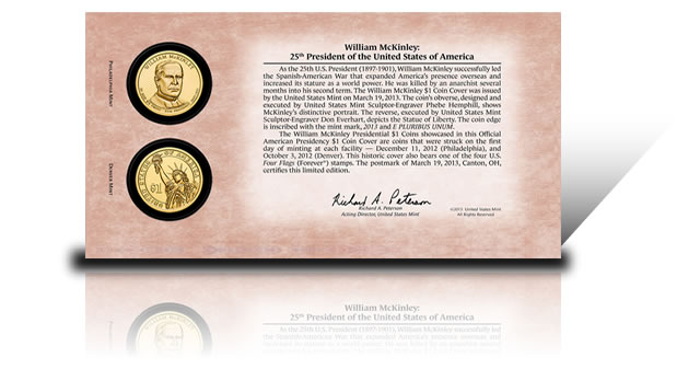 The back of the coin cover includes information about the coins, the ...