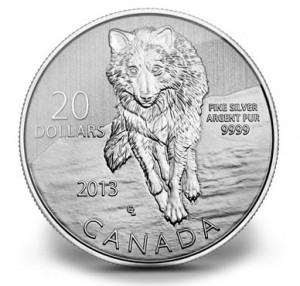 Canadian 2013 $20 Wolf Silver Coin
