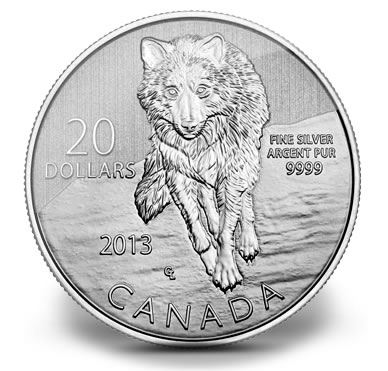 Canadian 2013 20 Wolf Silver Coin For 20 Coin News