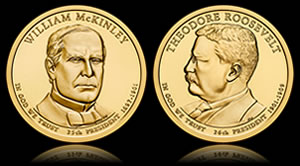 McKinley and Roosevelt Presidential $1 Coins