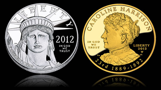 Platinum Eagle and Harrison First Spouse Gold Coin