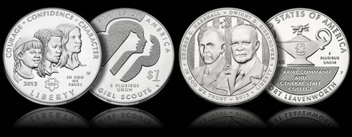 Proof Girl Scouts and 5-Stars Generals Commemorative Coins