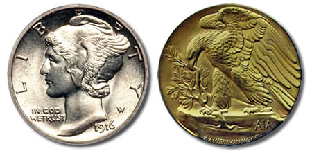 Weinman's Winged Liberty and 1907 American Institute of Architects medal designs