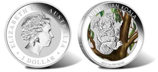 2013 Australian Koala 1 Ounce Silver Colored Coin