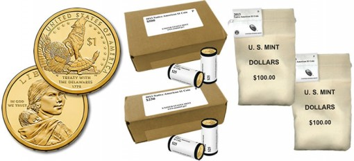 2013 Native American Dollar Coins in Rolls, Bags and Boxes