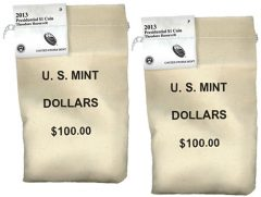 2013 P,D Theodore Roosevelt Presidential $1 Coins in Bags