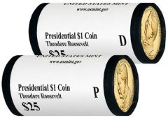 2013 P,D Theodore Roosevelt Presidential $1 Coins in Rolls