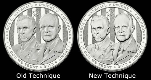 2013 Proof 5-Star Generals Silver Dollar Obverses - Technique Comparisons