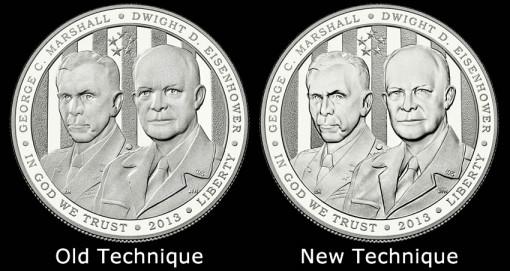 2013 Proof 5-Star Generals Silver Dollar Obverses - Technique Comparisons
