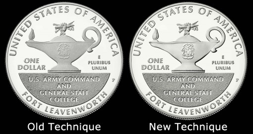 2013 Proof 5-Star Generals Silver Dollar Reverses - Technique Comparisons