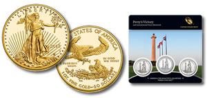 2013-W $50 Proof American Gold Eagle, Perry's Victory Quarters Three-Coin Set