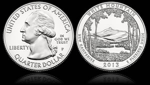 US Mint Coin Production in March Lists White Mountain Quarter Mintages