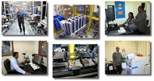 Photos of employees, the coin packaging line and quality assurance equipment at the San Francisco Mint