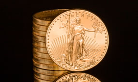 Stacked American Eagle Gold Bullion Coins