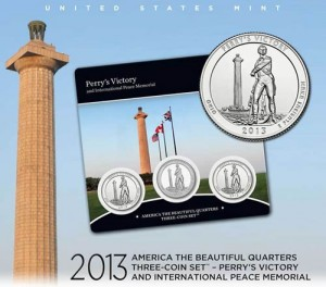 U.S. Mint Promotion Image of the Perry's Victory Quarters Three-Coin Set