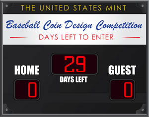 US Mint Counter for Days Left in Baseball Coin Design Competition