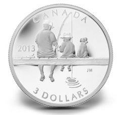 2013 $3 Canadian Fishing Silver Coin Features Four Finishes