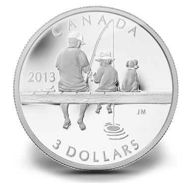 2013 $3 Canadian Fishing Silver Coin