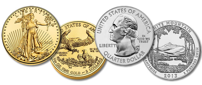 2013 $5 American Gold Eagle and 2013 White Mountain 5 Oz Silver Bullion Coin