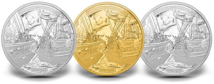 2013 HMS Shannon and USS Chesapeake Coins in Silver, Gold and Platinum