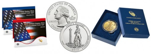 2013 Mint Set, 2013-P Perry's Victory ATB 5 Oz Silver Coin, 2013-W Uncirculated Gold Eagle