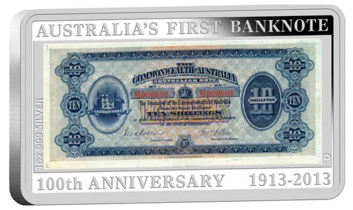 2013 Silver Proof Coin Depicting Australia's First Banknote