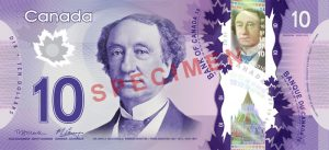 Canadian $10 Polymer Banknote - Front