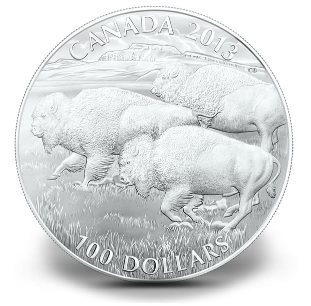Canadian 2013 $100 Bison Silver Coin