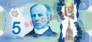 Canadian $5 Polymer Banknote - Front