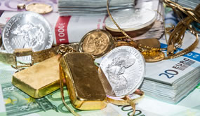 Gold Bars, Silver Bars, Silver Coins and Money