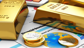 Gold Bars and Euro Coins