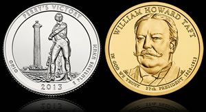 Perry's Victory Quarter and William Howard Taft Presidential $1 Coin