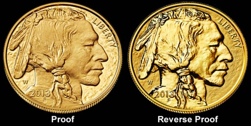 Proof and Reverse Proof 2013-W American Buffalo Gold Coin Images - Obverses